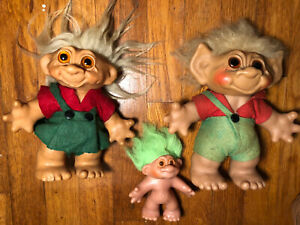 "Vintage 60s 80s Dam Troll Lot VTG 1960s Trolls 6"" 9"""