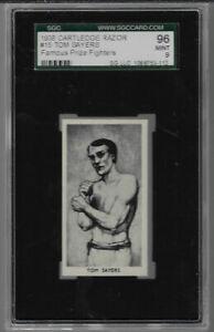 1938 CARTLEDGE RAZOR # 15 TOM SAYERS 96 MINT 9  SGC FAMOUS PRIZE FIGHTERS