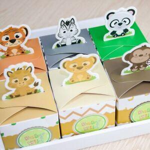 12PCS Baby Shower Favors Safari Animal Wild Favor Box Candy Box Souvenir
