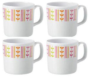 Melamine (plastic) LEAF mugs x 4, picnic, BBQ, caravan, camping, party, baby