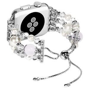 Womens Bracelet Band Elegant Jewellery Pearl Beads Strap for Apple Watch iWatch