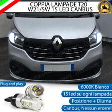 COPPIA LUCI DIURNE DRL LED T20 CANBUS RENAULT TRAFIC MK3 6000K BIANCO NO ERROR