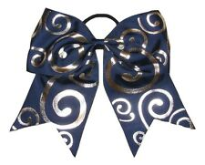 "NEW ""Silver Swirl NAVY BLUE"" Cheer Bow Pony Tail Ribbon Hair Bows Cheerleading"