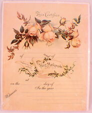 Turn Of The Century Wedding Certificate Marriage Old Print Factory  Yellow Rose