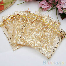 10X Organza Transparent Jewelry Pouch For Wedding Gift Candy Bags 10x12cm GOLD