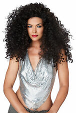 Adult 70s 80s Long Curly Diana Ross Brunette Disco Diva Do Costume Wig