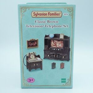 Sylvanian Families Classic Brown Television & Telephone Set #2074