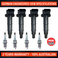 4x Genuine NGK Iridium Spark Plugs & 4x Ignition Coils for Toyota Camry Rav 4