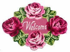 Doormat Rose Hand Embroidered Bath Rug Washable Door Mat Area Rug 2.5x2.0 Ft New
