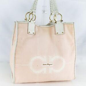 SALVATORE FERRAGAMO Gancini Canvas Tote Bag Shoulder Purse Pink AU-21 D848 JUNK