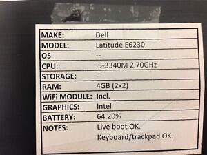 Dell Latitude E6230 *Parts/Repair* i5/4GB/BATT - No OS/HDD/CHRG