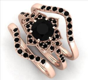 Women 18K Rose Gold  Black Sapphire Ring Fashion Wedding Jewelry Set Size 7