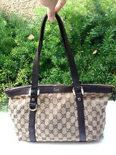 GUCCI Abbey Monogram GG Canvas Small Tote Beige Ebony Leather Shoulder Zip Bag