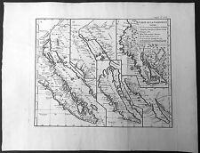 1770 Robert De Vaugondy Large Original Antique Maps of California, America