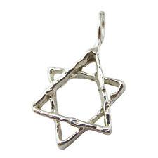 925 Sterling Silver Fancy Solid Medium Star of David Magen David Pendant Charm