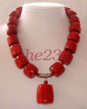 """Red Cylinder Coral Beads Gemstones Fashion Jewelry Necklace 18"""" AAA"""