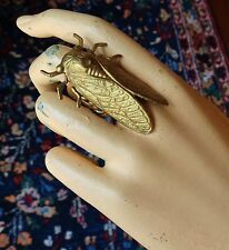Vintage Tall Ring Huge Egyptian Cicada Centerpiece Adjustable Brass Base