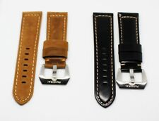 24mm Black / Brown  Leather watch strap for Panerai with buckle
