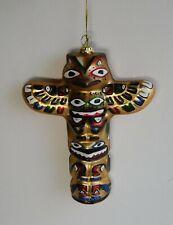 "Alaska Hand Painted Tribal Totem Thunderbird Blown Glass Ornament 5 1/2"""