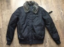 Mens 4bidden Black Ambush Bomber Warm Winter Coat Size M Detachable Fur Collar