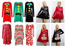 Ladies Long Sleeve Santa Reindeer Christmas XMAS Plus Size Swing Skater Dress