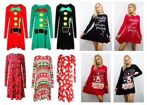 à manches longues femmes Santa Renne Noël grande taille SWING Robe patineuse