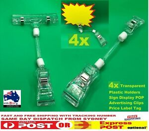 4 PCS Clear Plastic Sign Clip Holder Rotatable Double Price Stand For Rack Shelf