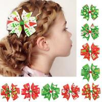 5 PCS Christmas Bow Hair Clip Alligator Clips Girls Accessories Kids new R W4S0