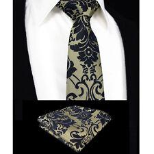 Cravatta floreale da uomo-vendita-Black & Gold Brown-Seta Paisley Regalo-Free Hanky