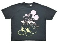 Neon Mickey Mouse Divided Tee Black Size M Mens T-Shirt H&M Disney
