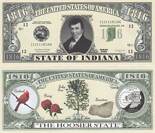 100 Indiana IN State Quarter Novelty Money Bills Lot