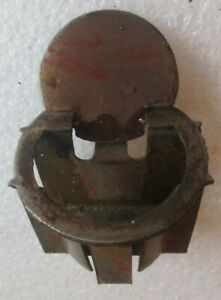 Antique Desk Ink Well Iron Insert with Hinged Lid