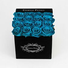 Real Roses That Last A Year – 16 Roses in a Black Flower Box (Blue Lagoon)