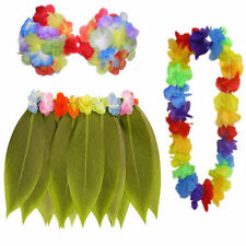 Hawaiian Hula Girl ( Leaf Skirt Flower Bra & Garland ) Fancy Dress Costume Beach