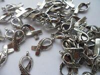 "50 Tibetan Silver Plated ""HOPE"" Ribbon~Cancer Awareness ~Charm~Beads 20x8mm"