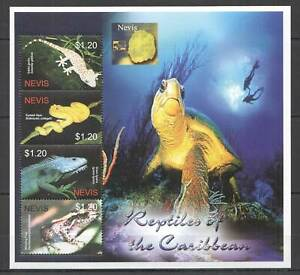 Z0141 NEVIS FAUNA MARINE LIFE REPTILES OF THE CARIBBEAN TURTLES SNAKES 1KB MNH
