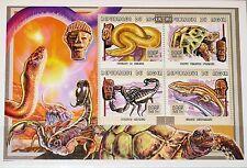 NIGER 1999 Klb 1717-20 MS 1033 Animals Masks Kleintiere Masken Fauna Kunst MNH