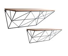 SET OF 2 RETRO WIRE METAL WALL MOUNTED DISPLAY WOODEN SHELF STORAGE UNIT RACK