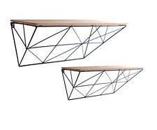 Set of 2 Black Single Coated Metal Wall Mounting Display Shelves 50x32x16cm
