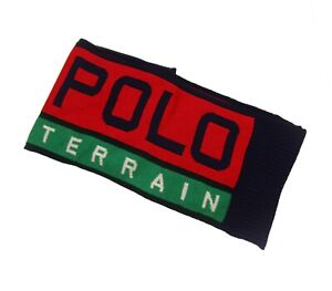 Polo Ralph Lauren Red Multi Colorblock Polo Terrain Graphic Wool Blend Scarf