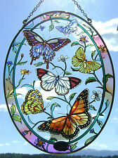 "AMIA Stained-Glass Look ""Rainbow & Butterfly""  Oval Suncatcher  ~  NEW"