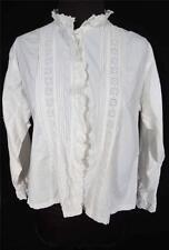Raro Vintage Francés 585ms-588ms Algodón Blanco Bordado Detalle BLUSA TALLA