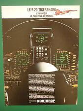 6/1983 PUB NORTHROP F-20 TIGERSHARK US AIR FORCE USAF AVIONICS COCKPIT FRENCH AD