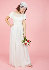 Modcloth Aisle & Beyond Maxi Wedding Dress NWOT 1X  Geode chiffon $300 pleated