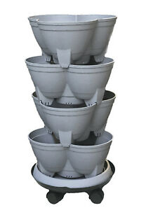 Stacking Planter, Vertical Garden 4 layered with Heavy Duty Trolley