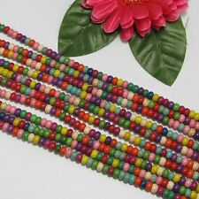 5 Strang Türkis Howlith Multicolor 4x6mm Kreis Lose Perlen