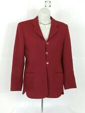 Women's Rena Rowan Blazer Jacket 3 Button 100% Worsted Wool Sz 4P Burgundy