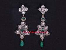 925 Polki Emerald Party Earrings Jewelry Antique Rose Cut Diamond 3.20ct Silver