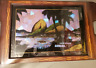 Vintage Butterfly Wing Reverse Painting Wood Tray Rio de Janeiro by Max Neugart