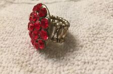 Antique Silver Plated Round Cluster Rhinestone Stretch Finger Ring One Size Red